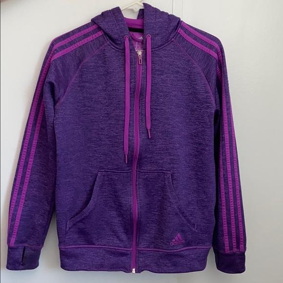 adidas Jackets & Blazers - Purple barely worn adidas zip up hooded jacket